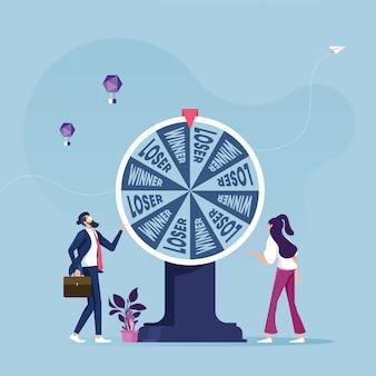 Geschäftsleute mit glücksrad-geschäftskonzept