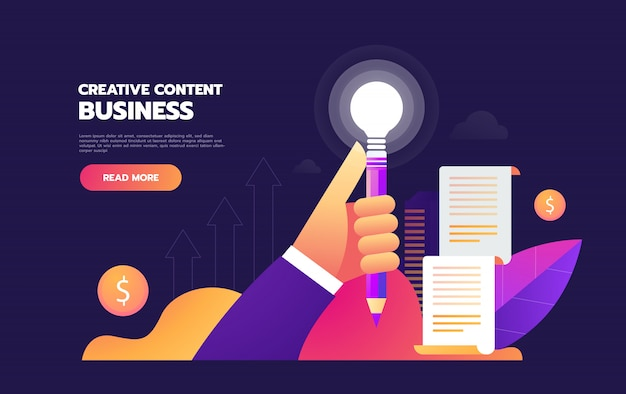Geschäftsleute mit glühlampe-bleistift. kreative idee, geschäftslösung, innovationsstrategie, brainstorming-konzept. flache vektorgrafik