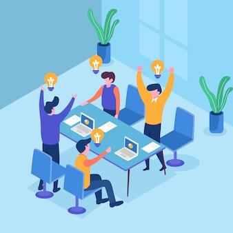 Geschäftsleute mit großer glühlampe-idee