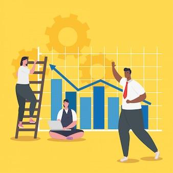 Geschäftsleute mit infografischem vektordesign