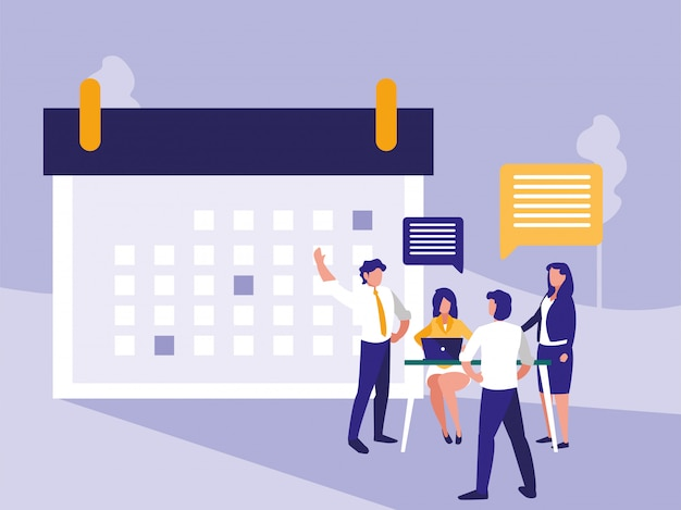 Geschäftsleute mit kalendersymbol