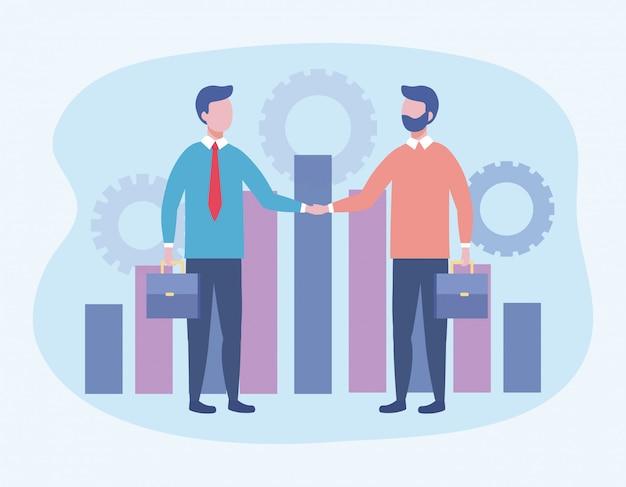 Geschäftsleute mit koffer und statistik bar und getriebe