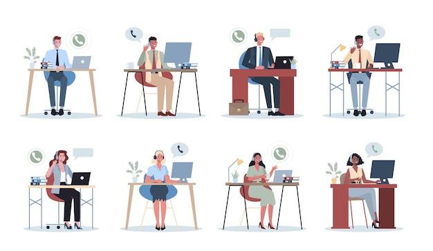Geschäftsleute mit kopfhörer. call-center-bürokonzept. weibliche und männliche charaktere sprechen mit kunden oder kollegen. idee der kundenbetreuung. hilfsarbeit. .