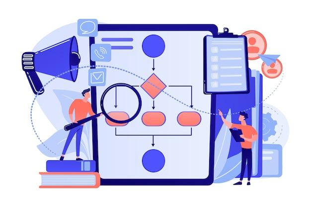 Geschäftsleute mit lupe, die geschäftsprozess-flussdiagramm betrachten. geschäftsregeln und -vorschriften, hauptunternehmenspolitik, illustration des it-geschäftsanalysekonzepts