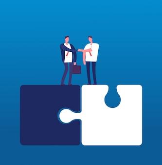 Geschäftsleute mit puzzle. mannhändeschütteln auf sehr großen puzzlespielen. partnerschaftskooperation und erfolgsteamwork vector geschäftskonzept