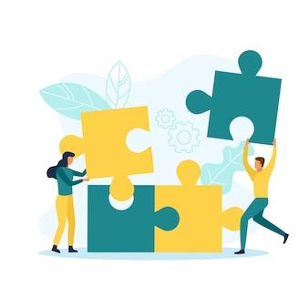 Geschäftsleute mit puzzleteilen