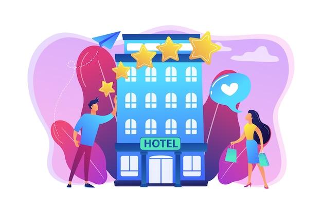 Geschäftsleute mit rating-stars mögen das stilvolle boutique-hotel. boutique hotel illustration