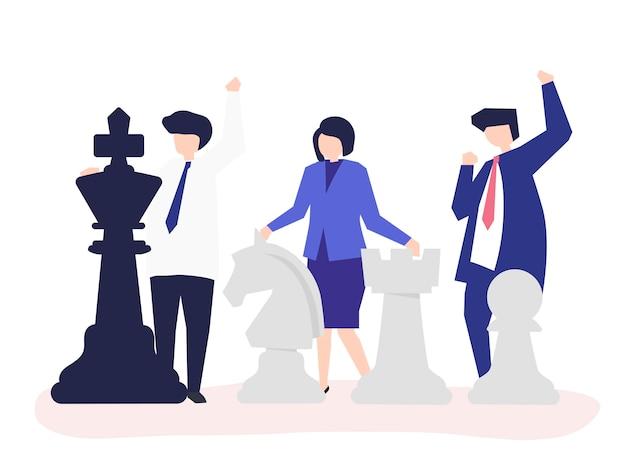 Geschäftsleute mit riesigen schachfiguren
