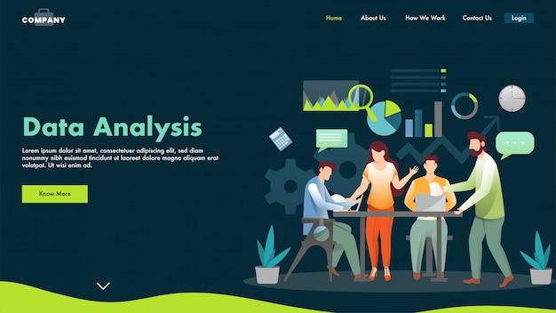 Geschäftsleute oder analysten, die vom laptop am arbeitsplatz für die datenanalysebasierte zielseite zusammenarbeiten.