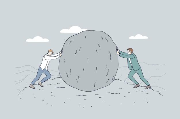 Geschäftsleute oder politiker zeichentrickfiguren, die riesigen stein gegeneinander drücken