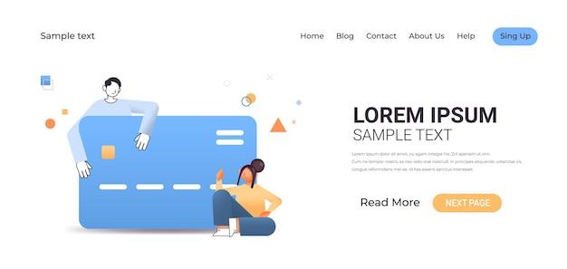 Geschäftsleute paaren mit kreditkarte online-shopping-zahlung geldtransaktionskonzept in voller länge horizontale illustration