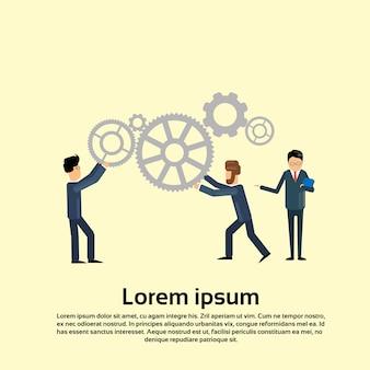 Geschäftsleute push cogwheel teamwork brainstorm konzept