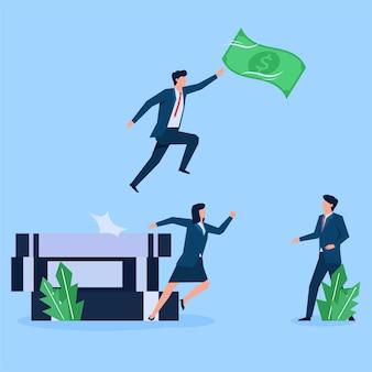 Geschäftsleute rennen los, um geld zu fangen, während ein mann aus büchern springt
