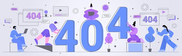 Geschäftsleute reparieren website mit problem nicht funktionierend fehler verloren nicht gefunden 404 zeichen konzept