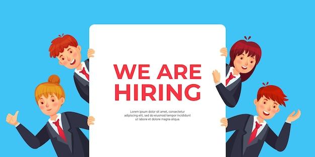 Geschäftsleute schauen aus banner mit text, den wir einstellen. personalangebot für rekrutierung, arbeitsmöglichkeit, suche nach neuen kandidaten oder mitarbeitern für positionsvektorillustration