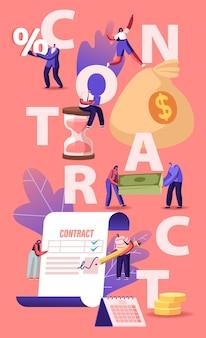 Geschäftsleute schließen eine vereinbarung, prüfen und unterzeichnen das vertragskonzept. karikatur flache illustration