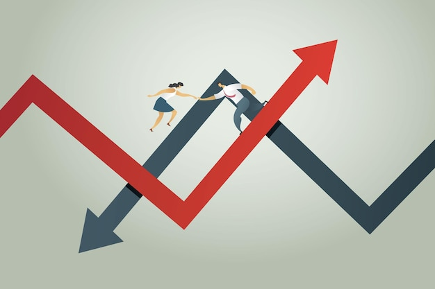 Geschäftsleute schütteln sich die hände auf pfeilen nach oben und unten