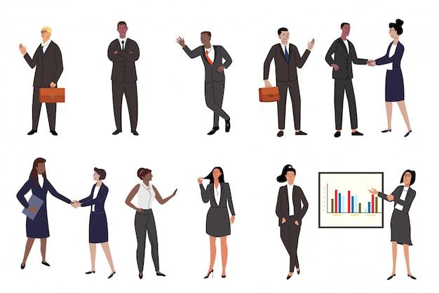 Geschäftsleute setzen flache zeichensätze