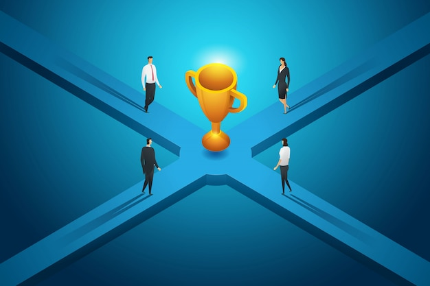 Geschäftsleute sind auf dem weg zu großen trophäenwettbewerben. isometrische konzeptillustration