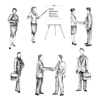 Geschäftsleute skizze gesetzt