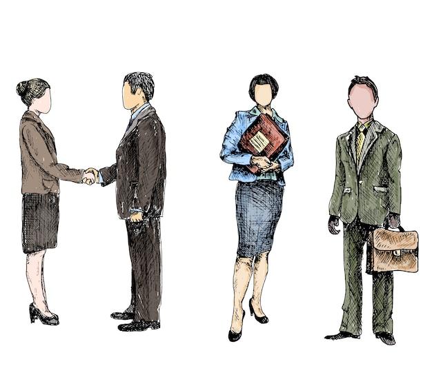 Geschäftsleute skizzieren gefärbt