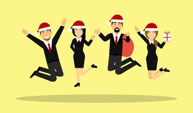Geschäftsleute springen in weihnachtsmützen, mit geschenken.
