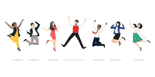 Geschäftsleute springen, um den sieg zu feiern. fröhliche gemischtrassige menschen, die zusammen feiern.