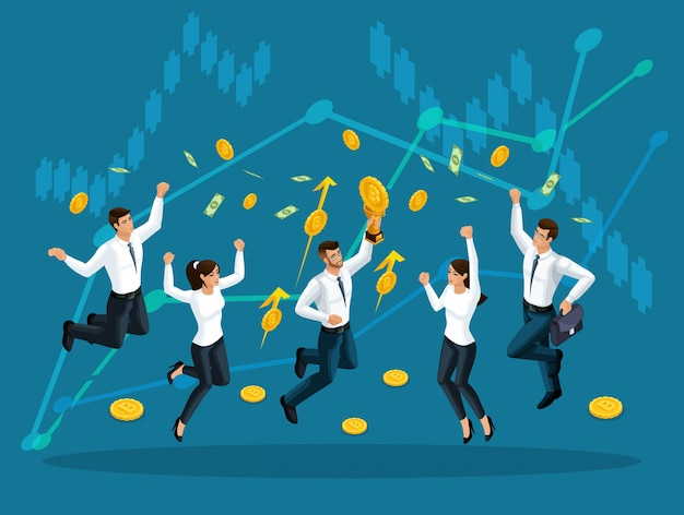 Geschäftsleute springen und genießen das große geld, das vor dem hintergrund der gewinnwachstumscharts vom himmel serviert wird. illustration eines finanz