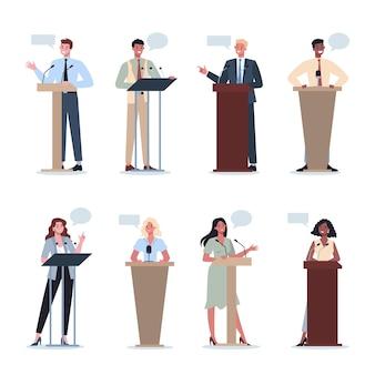 Geschäftsleute stehen hinter einem rednerpult. büroangestellte treten vor einer gruppe von kollegen auf. präsentation des geschäftsplans auf dem seminar. auf das diagramm zeigen.