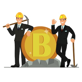 Geschäftsleute stehen neben bitcoin.