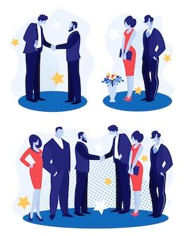 Geschäftsleute stehen von angesicht zu angesicht händeschütteln