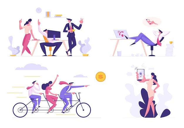 Geschäftsleute stellen flache illustration ein