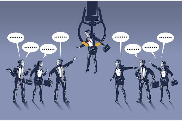 Geschäftsleute streiten sich über ein ausgewähltes blaues halsband der geschäftsfrau