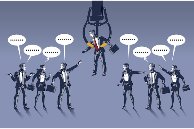 Geschäftsleute streiten sich über einen auserwählten geschäftsmann blue collar