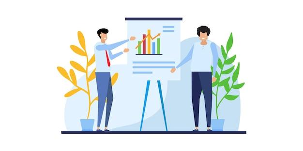 Geschäftsleute teamanalyse und überwachung auf dem dashboard des webberichts-monitorkonzepts und des vektorillustrations-geschäftsarbeitskonzepts