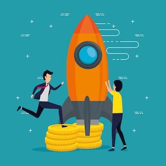 Geschäftsleute teamarbeit mit raketen und münzen