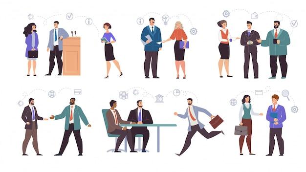 Geschäftsleute teams characters flat set