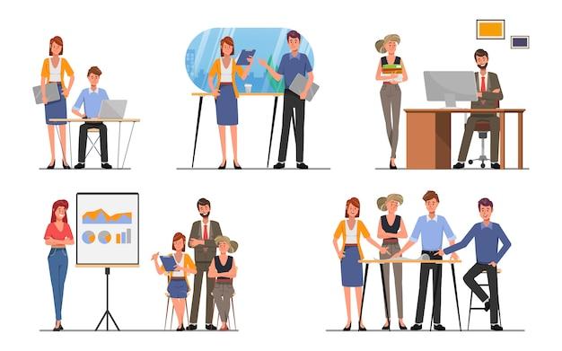Geschäftsleute teamwork-büro-charakter-kollegeseminar, das flachen karikaturvektor trifft