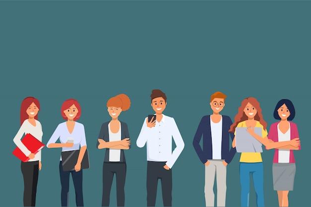 Geschäftsleute teamwork-büro-charakter-seminarsitzung.