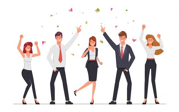 Geschäftsleute teamwork-büroparty mit dem tanzen und gesang.