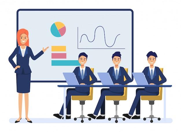 Geschäftsleute teamwork-kollegecharakter. animationsszene menschen seminargemeinschaft.