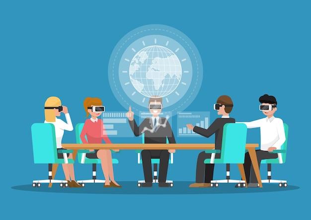 Geschäftsleute tragen eine vr-brille in einer virtual-reality-konferenz. geschäfts- und technologiekonzept