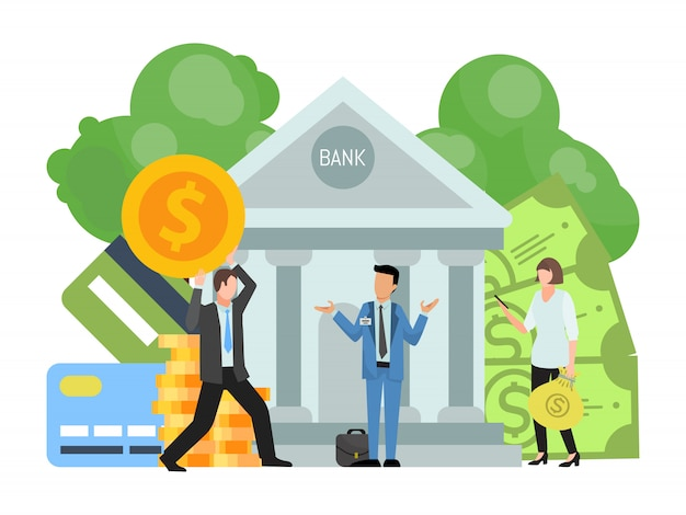 Geschäftsleute tragen und stecken geld und geldsäcke in das bankgebäude. das konzept der finanzinvestition und der erhaltung von kapital in der bankvektorillustration