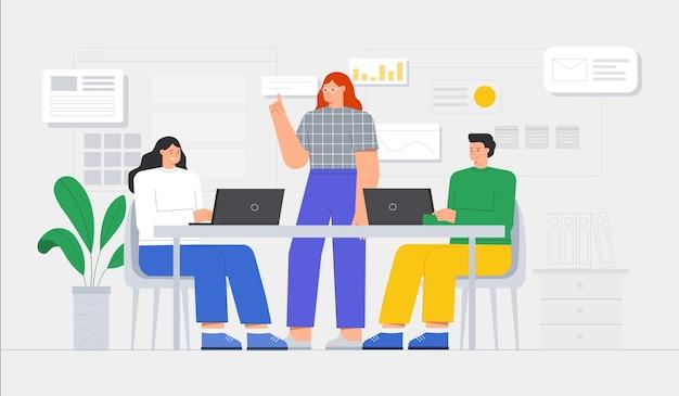 Geschäftsleute treffen. geschäftsteam, das am schreibtisch mit laptops zusammenarbeitet. modernes bürointerieur mit arbeitsprozess. flache artillustration.