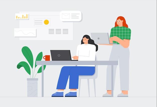 Geschäftsleute treffen. geschäftsteam, das am schreibtisch mit laptops zusammenarbeitet.