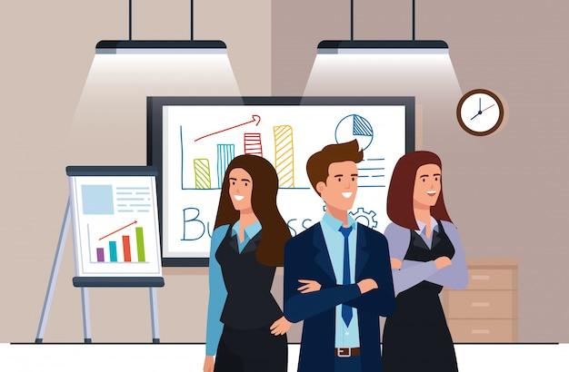 Geschäftsleute treffen mit infografiken präsentation