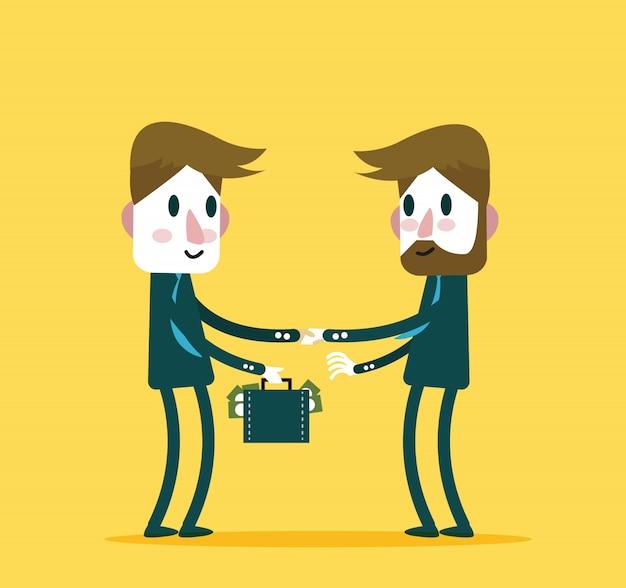 Geschäftsleute überprüfen hand mit viel geld