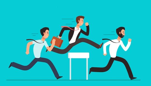 Geschäftsleute überwinden hürden.