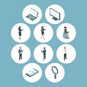 Geschäftsleute und analytics-symbole