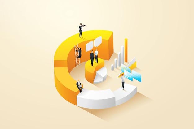 Geschäftsleute und angestellte zusammen, um statistische infografiken in diagrammen zu analysieren
